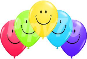 10吋綜合色笑臉圓型氣球