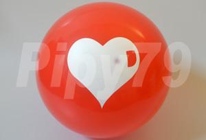 12吋頂印白心紅色圓型氣球