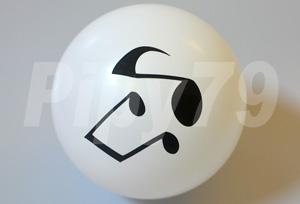 10吋頂印黑音符白色圓型氣球