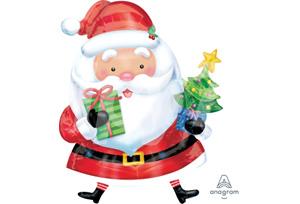 聖誕老人拿聖誕樹和禮物