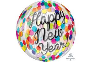 16吋新年快樂透明圓點氣球