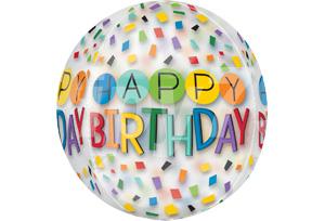 16吋彩片生日快樂透明圓球
