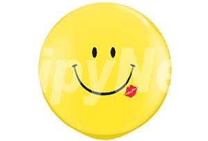 36吋黃色笑臉唇印圓型氣球