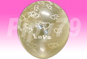12吋一箭雙心花紋透明圓型氣球