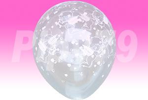 12吋小天使花紋透明圓型氣球