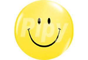 10吋頂印黃色笑臉圓型氣球