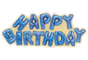 藍色生日快樂英文字組