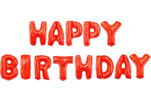 紅色生日快樂英文字組