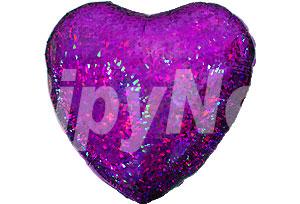 18吋紫色雷射心型鋁箔氣球