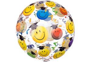 畢業笑臉博士帽透明泡泡耐久氣球