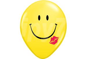 16吋笑臉親吻黃色圓型氣球