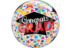 恭喜畢業帽三角星星圖透明泡泡耐久氣球