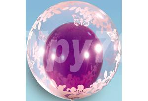 22吋花朵蝴蝶透明泡泡氣球
